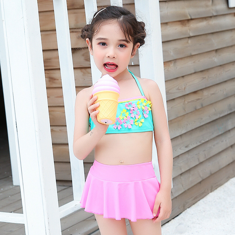Summer New Style Split Skirt-Tube Top Bikini GIRL'S Swimsuit Cute Little Girl CHILDREN'S Swimsuit Factory Price