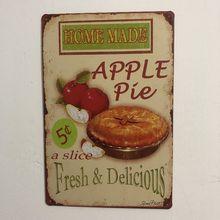 [Luckyaboy] домашняя доска для яблочного пирога винтажные металлические жестяные знаки, домашний бар паб гараж, Декор, тарелки, мужская пещера, наклейка на стену