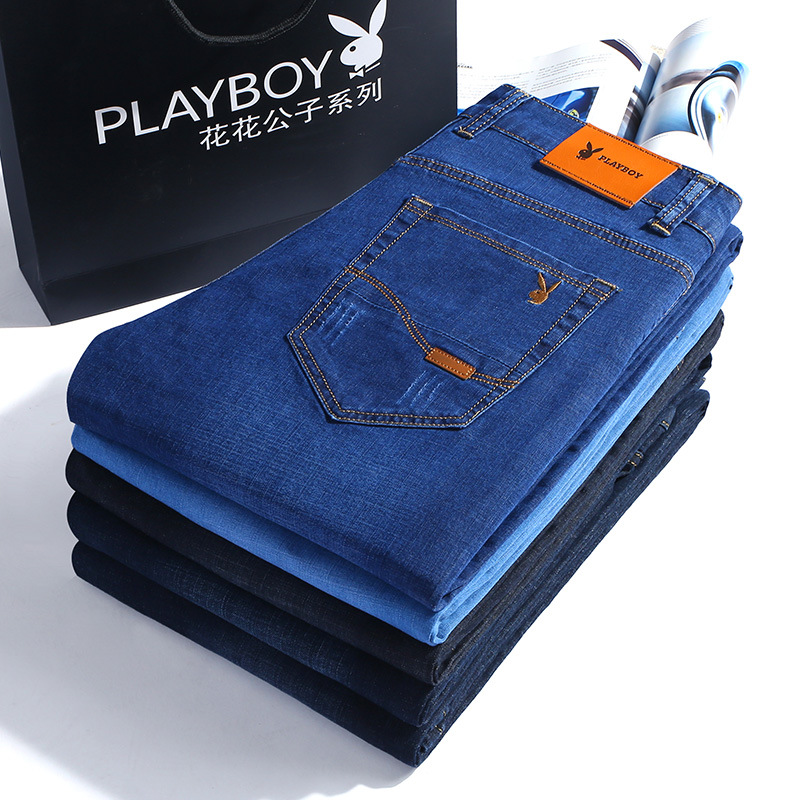 -P58 PLAYBOY 1953 Jeans Men's Business Slim Fit Elasticity Plus-sized Menswear Casual Pants