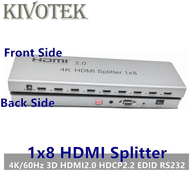 Répartiteur HDMI 4 K/60Hz 1x8, connecteur Hdmi 1 en 8 sorties, adaptateur mâle-mâle, 1080p complet, contrôle 3D EDID/RS232 pour tvhd