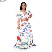 CM.YAYA kadın mektubu baskı Vintage kırpma üstleri Maxi kat uzunluk etek takım elbise plaj eşofman iki parçalı Set spor kıyafetler elbise