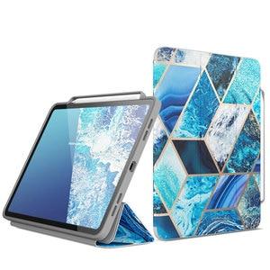 Чехол Cosmo для iPad Pro 11, чехол (2018) с полным корпусом, складной мраморный чехол с подставкой, откидной Чехол с автоматическим режимом сна/пробужд...