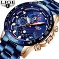 2019 LIGE Neue Mode Herren Uhren Blau Edelstahl Top Marke Luxus Sport Chronograph Quarz Uhr Männer Relogio Masculino