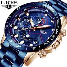 Reloj de cuarzo con cronógrafo deportivo de marca superior de acero inoxidable azul para hombre de nueva moda 2019 LIGE