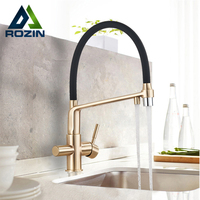 Rozin filtr kuchnia kran szczotkowane złoto 360 obrotowe czysta woda krany do kuchni czarny Pull Down oczyszczanie kran z mieszaczem wody
