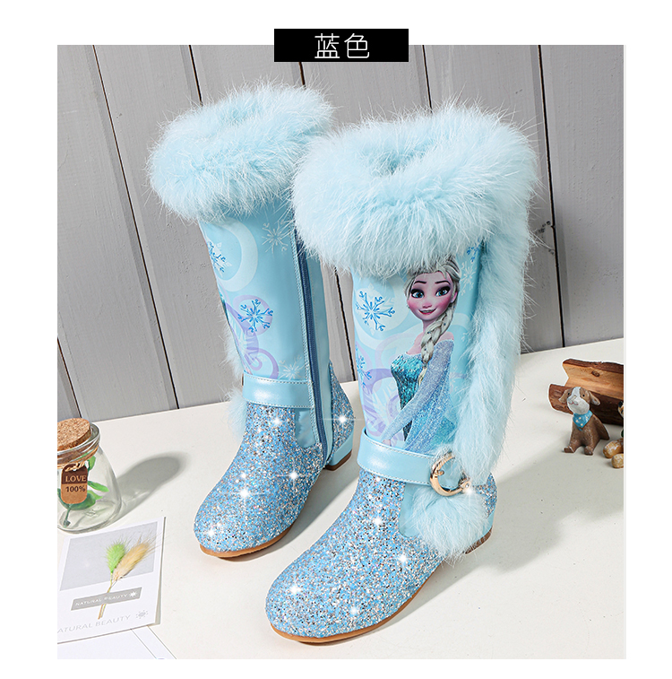 H81bfb00d9c7a4b52b68ea36766dcdb73t - Elsa princess kids high boots new winter girls boots Brand Children's over the knee boots for girls snow shoes pink blue
