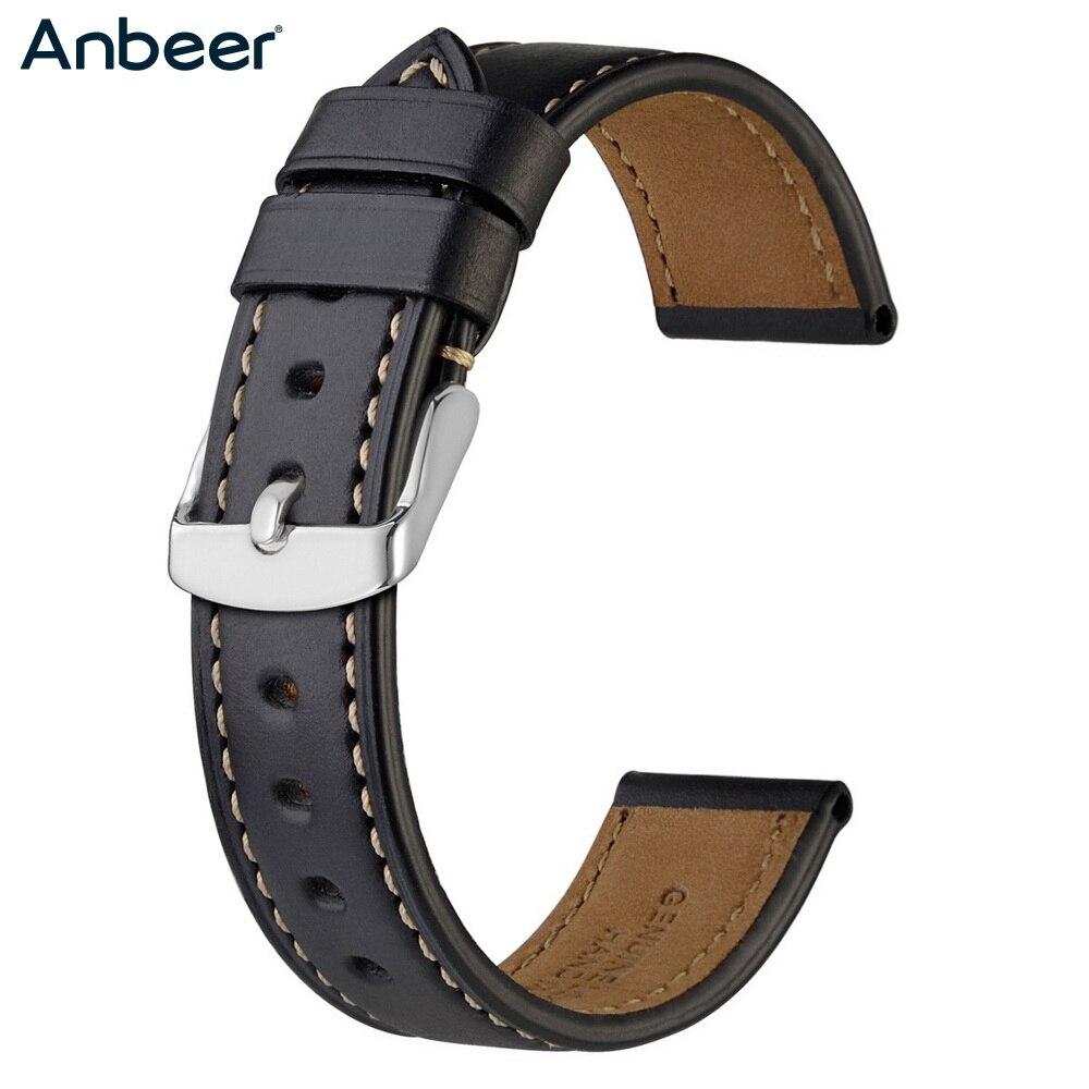 Anbeer кожаный ремешок для часов 18 мм 19 мм 20 мм 21 мм 22 мм 23 мм 24 мм Мужской Женский черный коричневый кожаный ремешок для часов из телячьей кожи