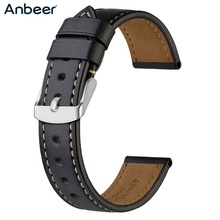 Anbeer Leather Watchband 18mm 19mm 20mm 21mm 22mm 23mm 24mm Men Women Black Brown Horween Leather Calfskin Watch Strap Bracelet