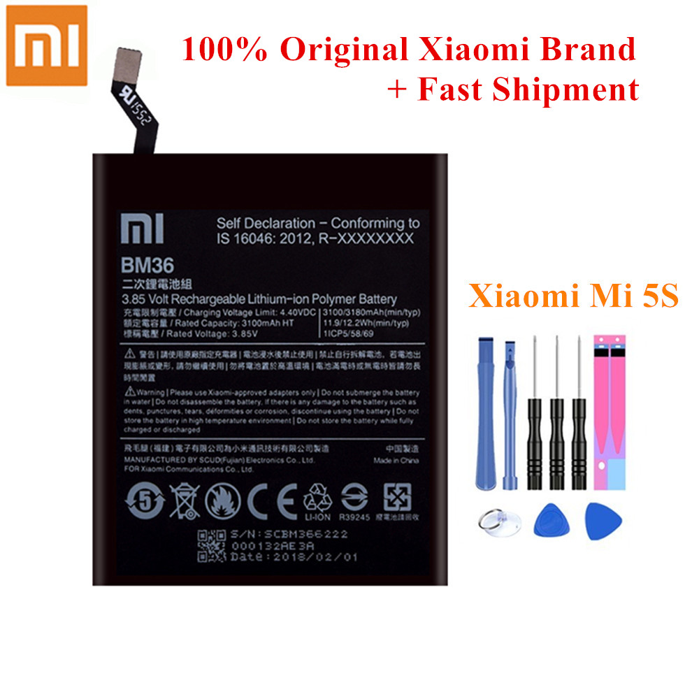 100% Original <font><b>Battery</b></font> BM36 For Xiaomi <font><b>Mi</b></font> <font><b>5s</b></font> MI5S 3100/3180mAh Genuine Mobile Phone Li-Polymer Akku +Tools kit image