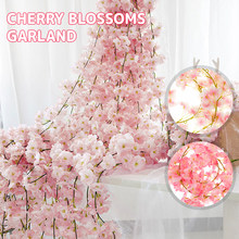 4Pcs 180CM Artificial Cherry Blossom Flowers Wedding Garland Ivy Decoration Fake Silk Flowers Vine for Party Ceiling Decor Arch