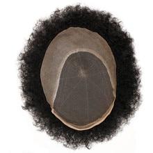 Eseewigs Afro Kinky Curly บราซิล Remy มนุษย์ผมสีดำ Wigs สำหรับผู้ชาย Hand Made ฟอกขาวและ Tiny Knots ผมเปลี่ยน