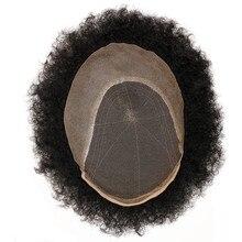 Eseewigs Afro Kinky Quăn Brazil Remy Đen Tóc Giả Tóc Con Người Cho Nam Giới Đầy Đủ Làm Bằng Tay Tẩy Trắng và Nhỏ Knots Tóc thay thế