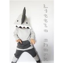 лучшая цена Toddler Kids Clothes Long Sleeve Shark Print Hooded Tops Arrow Pants Trouser 2PCS Outfit Baby Boy Girl Clothing Set 6M-4Y
