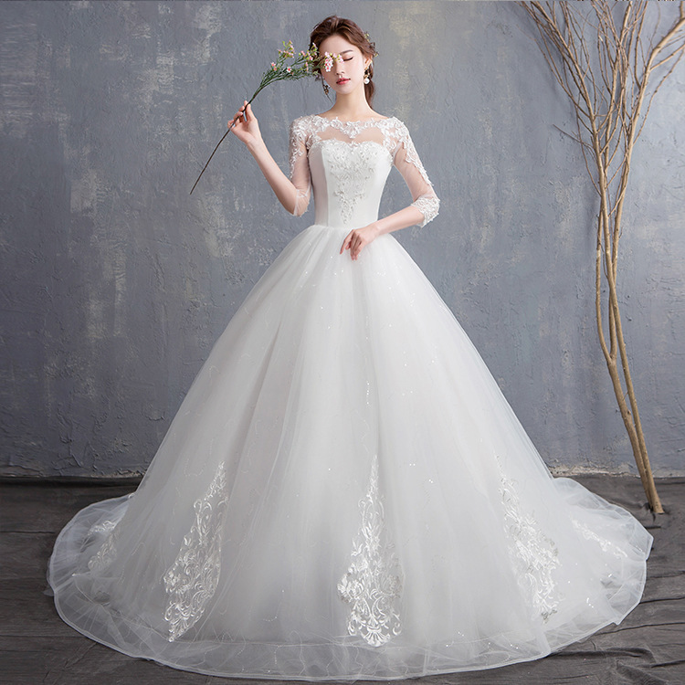 2019 Trouwjurk Of New Fund Of 2020 Autumn Winters Is Cultivate Morality Show Thin Sleeves Bridal Lace Trailing Dress Female