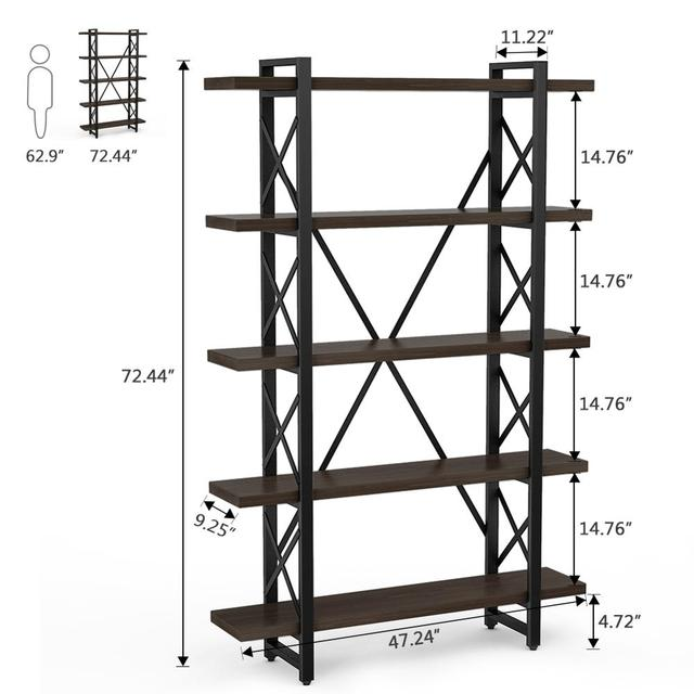 5-tier Industrial Style X Shaped Bookcase 6