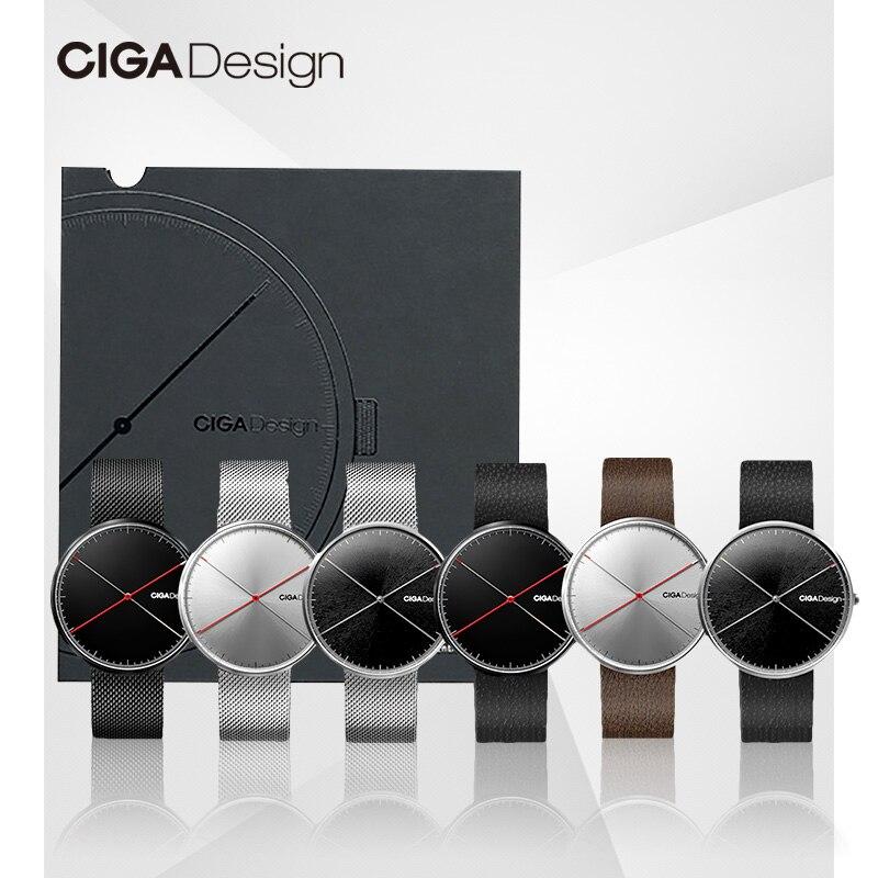 CIGA conception CIGA montre à Quartz mode Simple Quartz acier/cuir ceinture point rouge conception prix montre hommes montre série X - 2