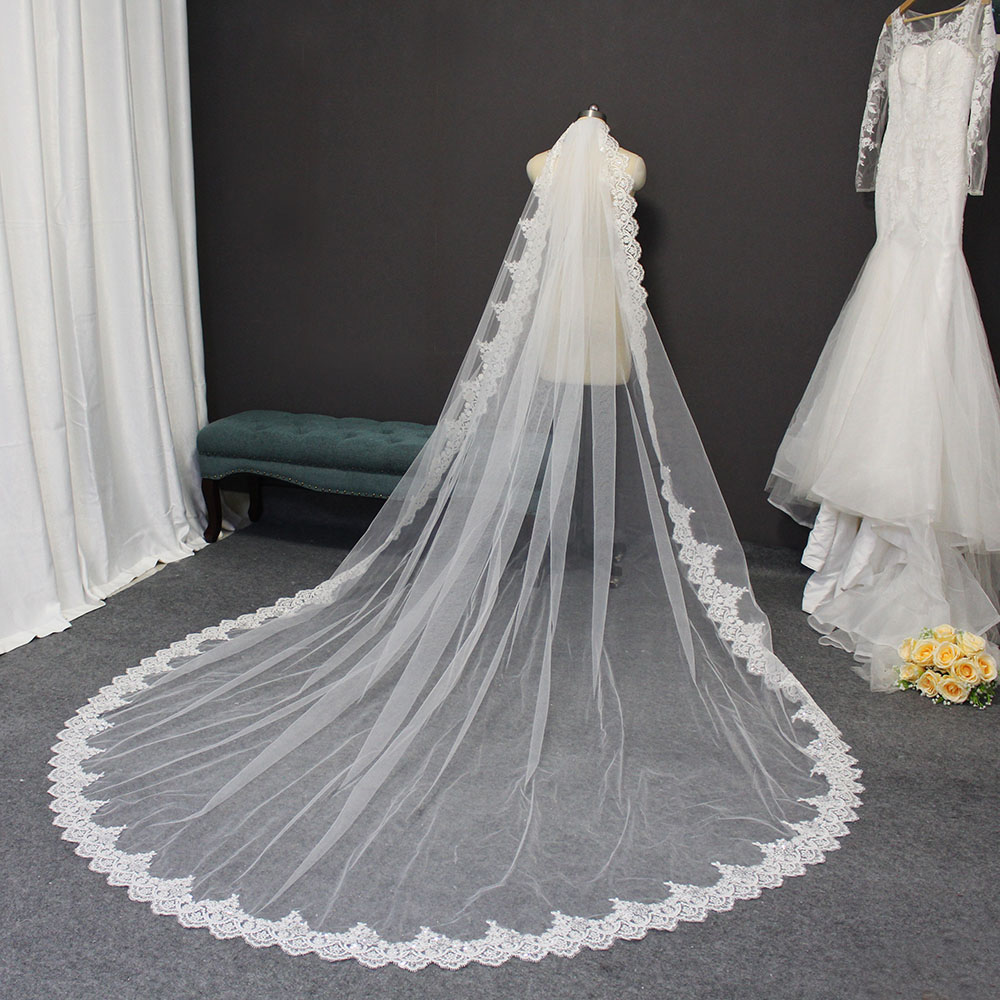 Bling Sequins Lace Long Wedding Veil with Comb 3 Meters Cathedral Bridal Veil One Layer High Quality Veil Wedding Accessories
