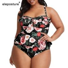 Maiô tankini estampado floral plus size, roupa de banho feminina duas peças, roupa de praia traje de cintura alta