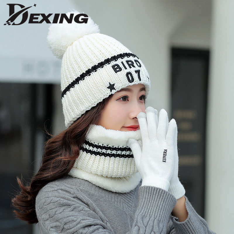 New Pompom Ball Letter Knitted Winter Hat Scarf Gloves Set Women Thick Warm Winter Ski Cap Beanies Scarf Female For Girls Gift