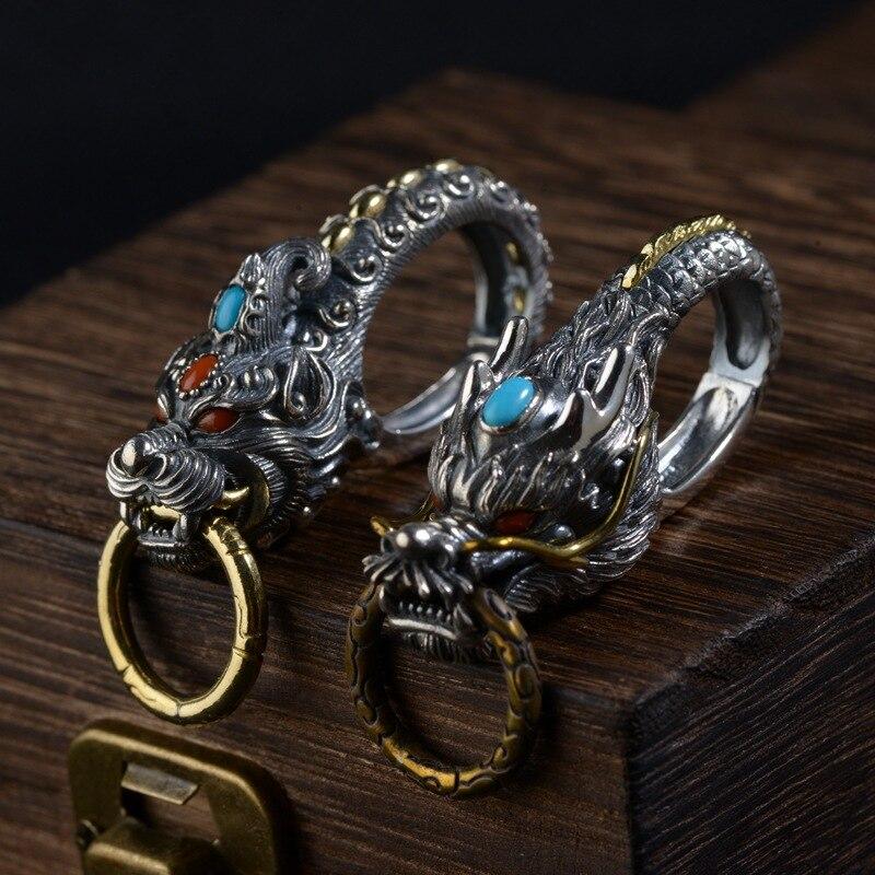 100% pur 925 argent Sterling VINTAGE biker rétro dragon porte-clés porte-clés porte-clés chaîne fermoir gros bijoux cadeaux d'anniversaire