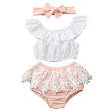 Летняя одежда для новорожденных девочек 3 шт. футболка без рукавов топ шорты повязка на голову комплект одежды 3-18 месяцев