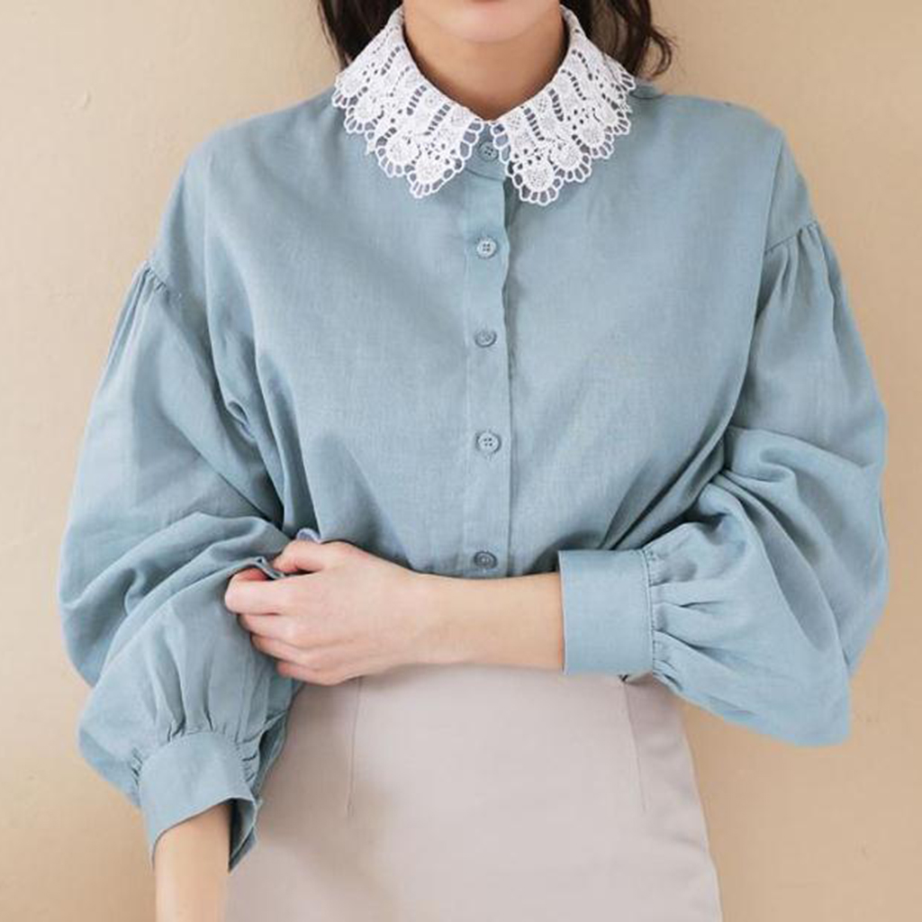 Fake Shirt Collar Woman Girl Chiffon Lace Blouse Blouse Collar Removable Tees Women's Detachable Lace False Collar