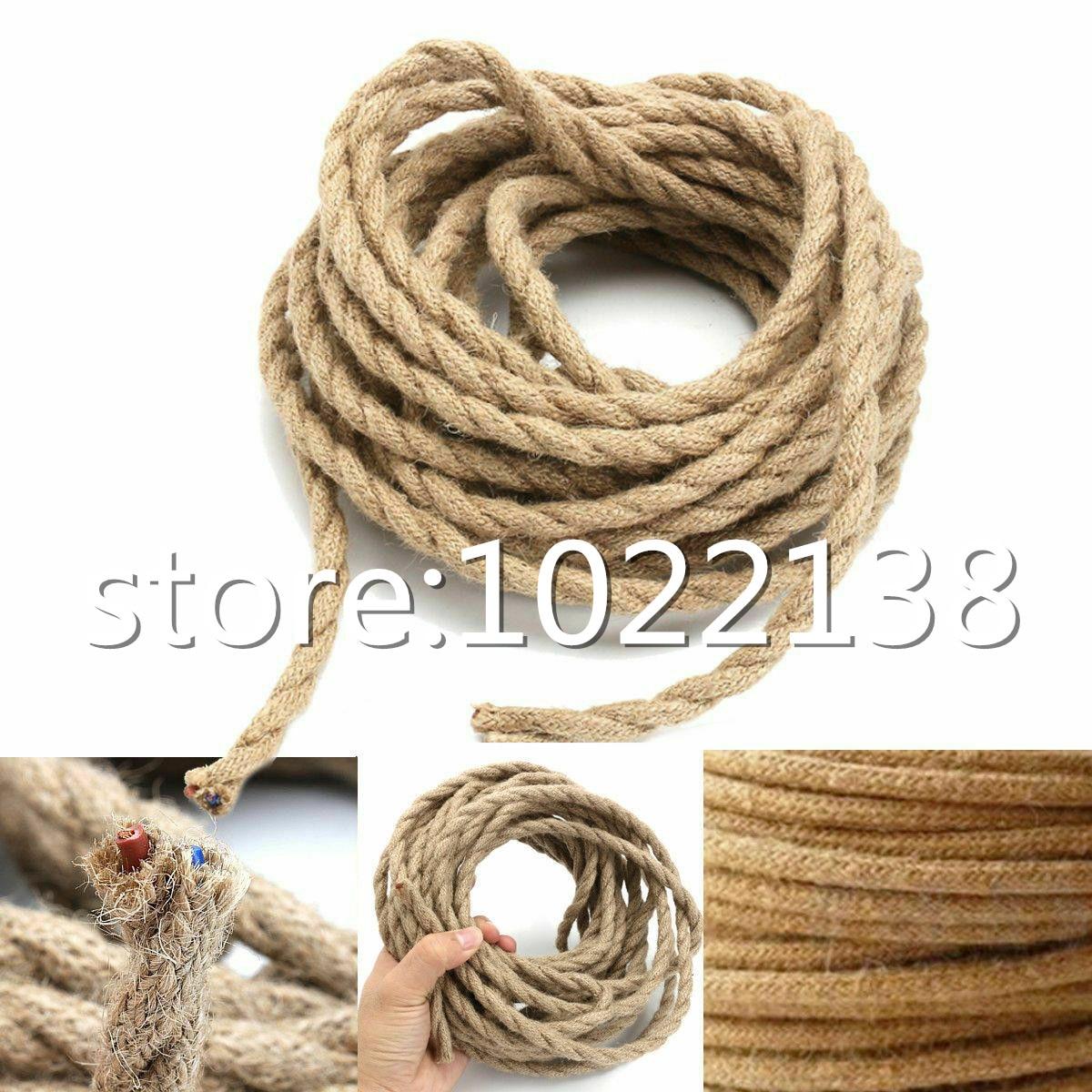 3m,5m,10m 2x0,75 MM Cable de cuerda Vintage, Cable trenzado, cuerda de cáñamo, Cable de lámpara colgante Vintage, Cable de lámpara, tela, Cable eléctrico 7