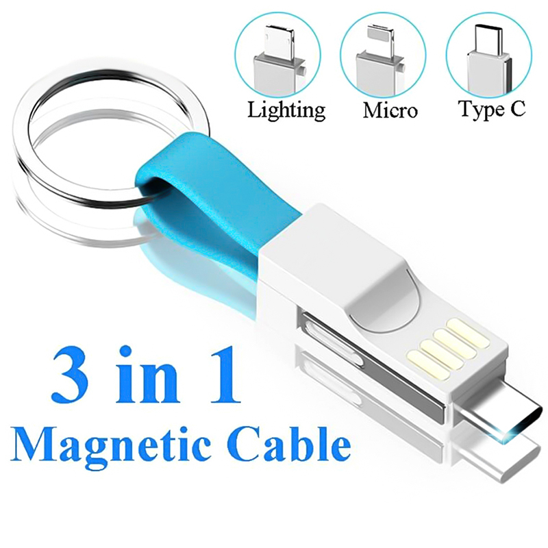 Magnetic All <font><b>In</b></font> One 13CM Mini USB <font><b>Cable</b></font> Mobile Phone Portable Charging Data <font><b>Cables</b></font> Type C/Micro USB/8 Pin Keychain Charger Wire image