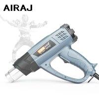 AIRAJ 2000w מתכוונן אקדח חום תעשייתי כיתה בקרת טמפרטורה דיגיטלית תצוגת סרט חימום אוויר חם כוח כלי-באקדחי חום מתוך כלים באתר