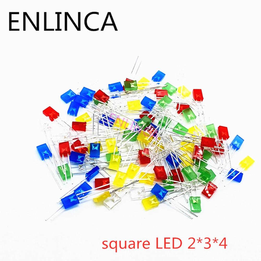 100pcs 2X3X4 Square LED 234 Red Light-emitting Diode White Yellow Red Green Blue Electronic Diy Kit