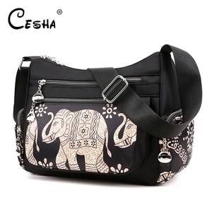 Image 1 - Fashion Cartoon Printing Bag Multi Pocket Women Shoulder Bag High Quality Waterproof Nylon Fabric Messenger Bag Female Handbag