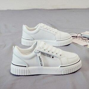 Image 2 - SWYIVY baskets vulcanisées pour femme, baskets blanches vulcanisées, chaussures à plateforme, printemps automne, à lacets