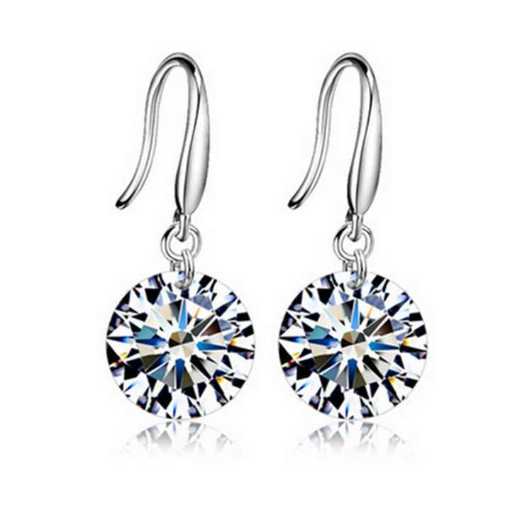 2019 nowe kolczyki koreańska wersja moda śliczne błyszczący biały kryształ Multicolor długie kolczyki damskie biżuteria spadek kolczyki