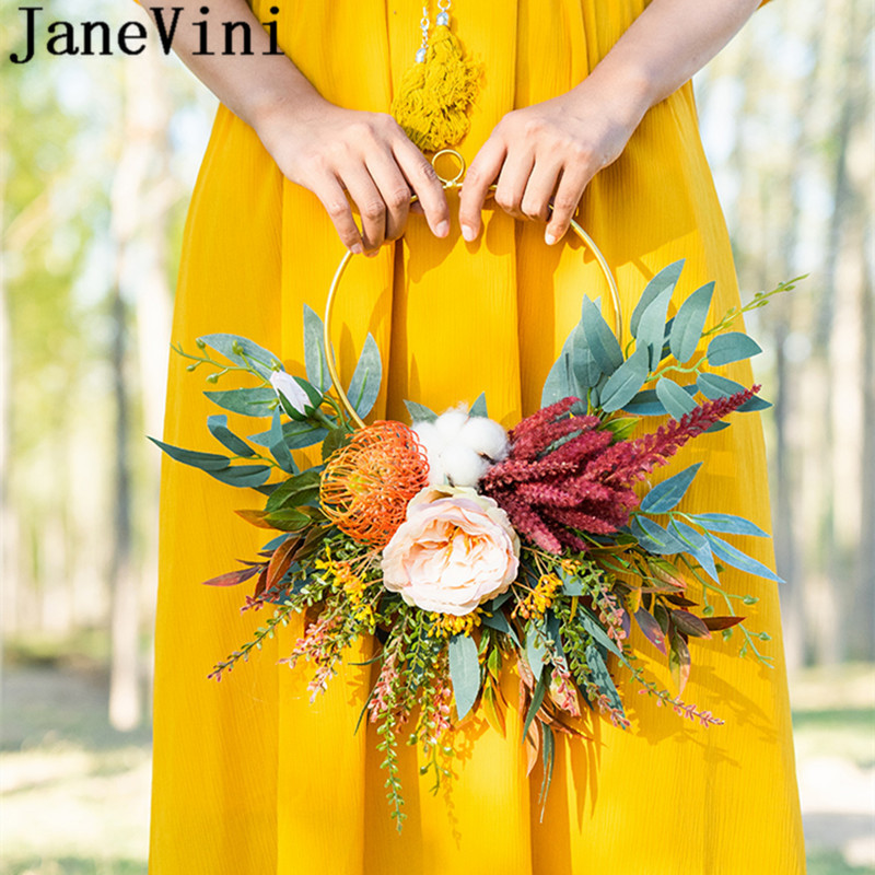 JaneVini 2020 New Bride Flower Wreath Bouquet Artificial Flowers Bridal Hand Garland Wedding Bridesmaid Accessories Boquet Sposa