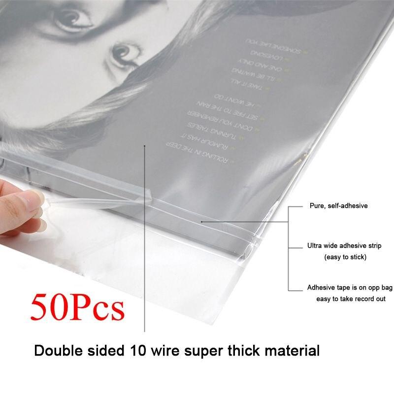 LEORY 50 pièces OPP Gel enregistrement manchon de protection auto-adhésif sac de protection pour platine vinyle Lp disques 12 32.3 cm * 32cm