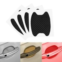 4Pcs/set Carbon Fiber Adhesive Sticker Car Handle Protection Sticker Auto Interior Accessories Car Styling Sticker Decration 4pcs lot handle protection film car sticker exterior transparent sticker automotive auto accessories car styling