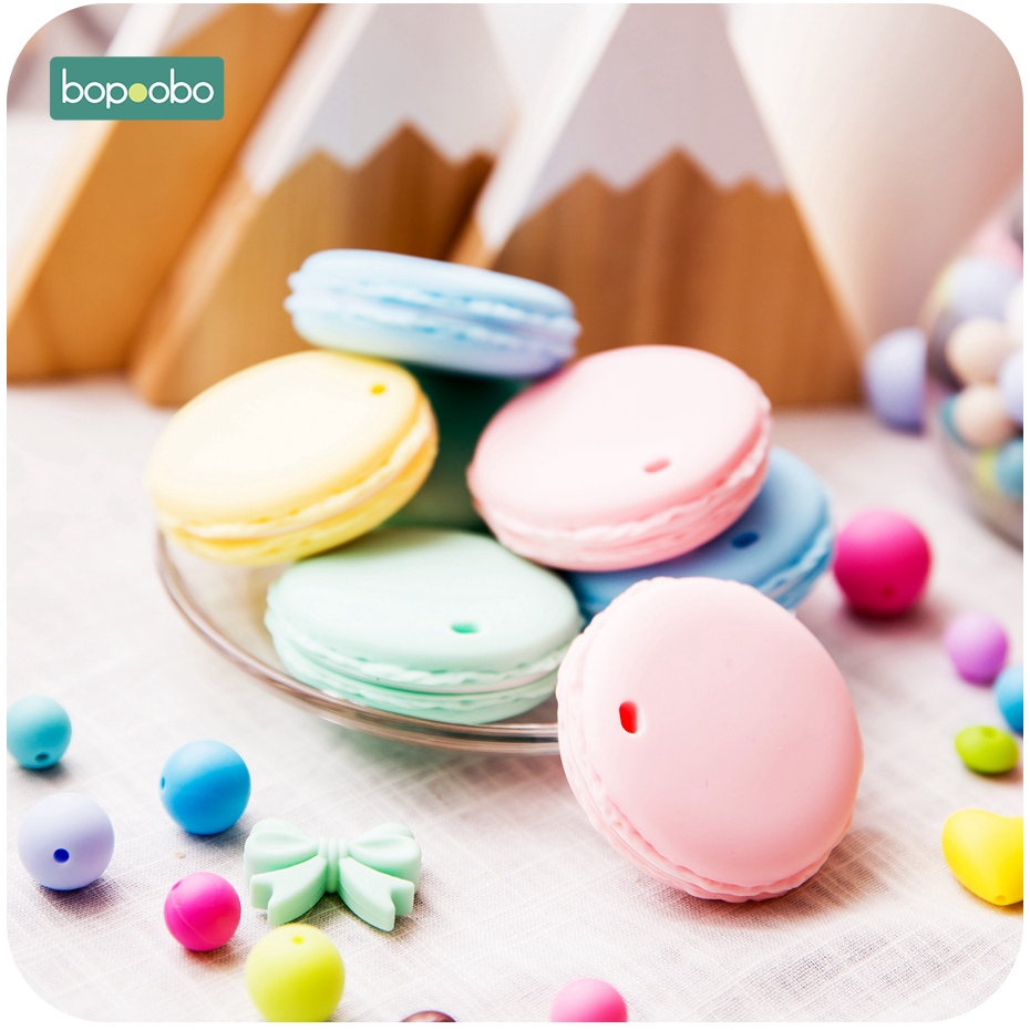 Bopoobo 10pcs Silicone Biscuit Teethers Food Grade Silicone Beads Baby Products Chewable Rodent Teething BPA Free Baby Teether
