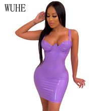 WUHE Stylish PU Leather Sexy Bodycon Dress Hollow Out Spaghetti Strap Sleeveless Skiny Sheath Mini Dresses Short Vestidos