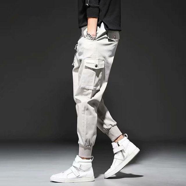 2020 Men Multi-pocket Elastic Waist Design Harem Pant Street Punk Hip Hop Red Casual Trousers Joggers Male Army Cargo Pants XXXL 34