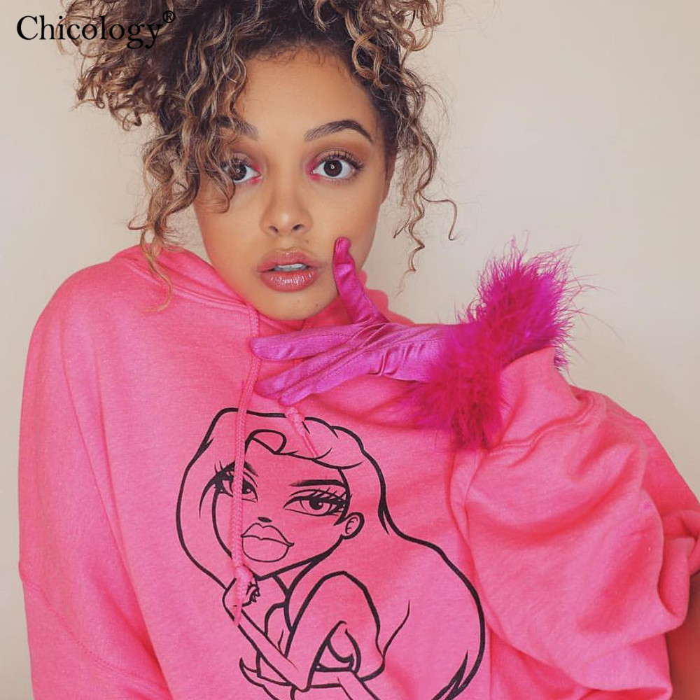 Chicology Neon Girl Pattern Print Oversize Streetwear Hoodies Pullover Long Sleeve Kpop Clothes 2019 Autumn Winter Female Top