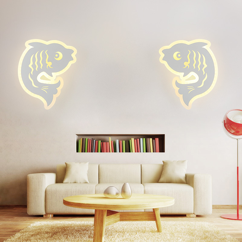 TOP! Cute Carp Wall Light Led Wall Lamp for Living Room Bedroom Bedside Aisle Children Room Home Lighting Decoration|Wall Lamps| |  - title=