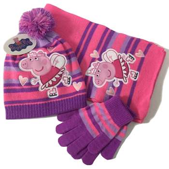 peppa pig Cartoon Peggy Knitted Scarf Gloves Knit Cap Three-Piece Winter Fashion Joker child toys Christmas gift fashion 2 use cap knitted scarf