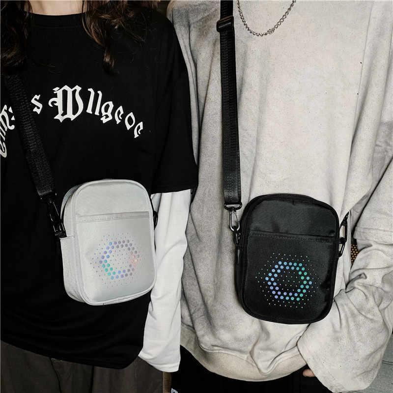 Reflecterende Mannen Messenger Bag Waterdichte Kleine Vierkante Man Schoudertassen Hip Hop Stijl Mini Crossbody Tas Reizen Portemonnee Handtas