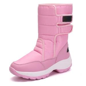Image 4 - JIANBUDAN 2021 New winter warm Snow Boots Outdoor waterproof womens Cotton boots Plush comfort warm Female high top boots