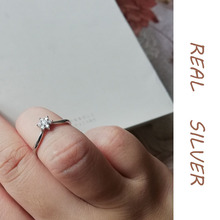 Young Girls Sweet Jewelry Finger Ring Real 925 Sterling Silver Ring Simple Design CZ Ring Women Dating Wearing Gift for Lover sweet rhinestoned letter s pattern design triangle ring for women