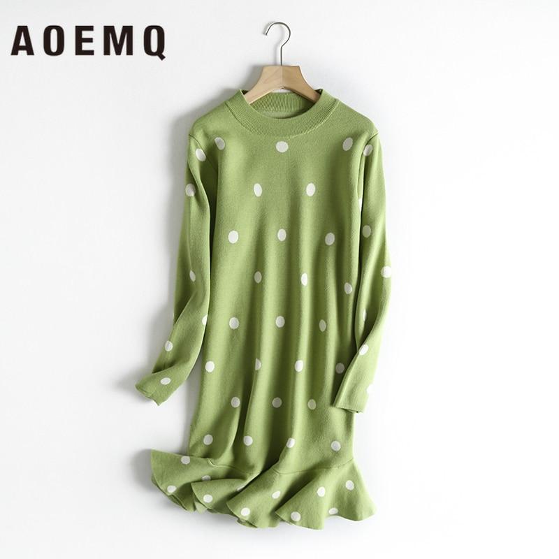 AOEMQ Fashion Dresses 4 Colors Sweet Fish Tails Wave Draped Dress With Dot Print Midi Dress Core Yarn Autumn Women Clothing