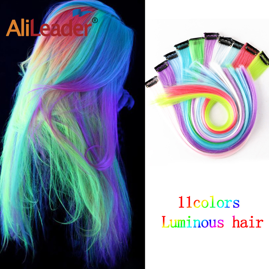 Alileader 11 Pcs/Pack 1 Clip Hair Colorful Hair Extension Fluorescence Fake Hair Heat Resistant Fiber Synthetic Hair Extension