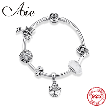 High Quality Sterling Silver 925 Bracelet bangle With Tree of life pendant Clear glass Bead Bracelets for Women fashion Jewelry