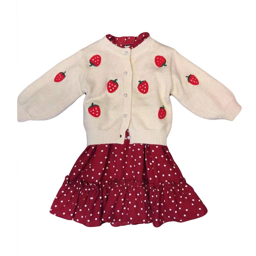 Fille robe ensemble de luxe marque Design tricot broderie fraise pull imprimé Dot 3-7Y