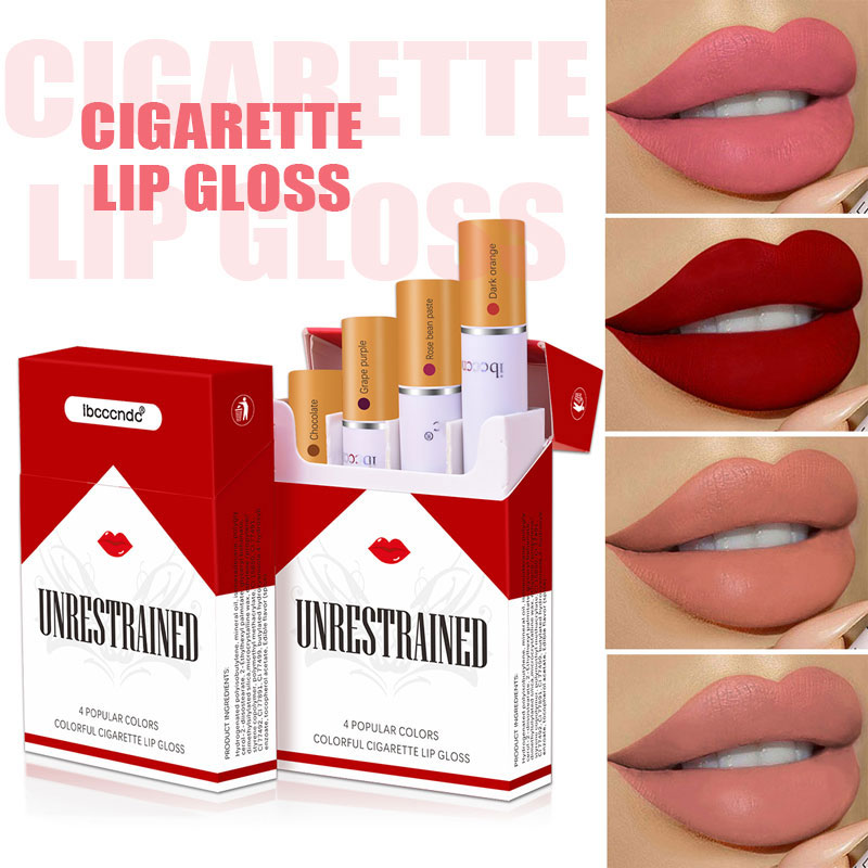 Cigarette Lip Gloss Set 4 Colors Matte Long Lasting Waterproof Velvet Lip Glaze Nude Lip Tints Tube Red Lips Makeup Cosmetic